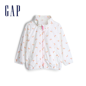 Gap女幼時尚拉鍊半高領外套540832-白底彩虹圖案