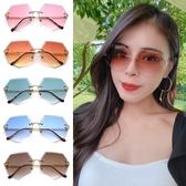 歐美太陽眼鏡 多邊形無框墨鏡 網紅墨鏡 修臉神氣 抗紫外線UV400