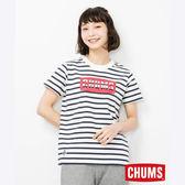 CHUMS 日本 女 LOGO 短袖T恤 藍白條紋 CH111324W011