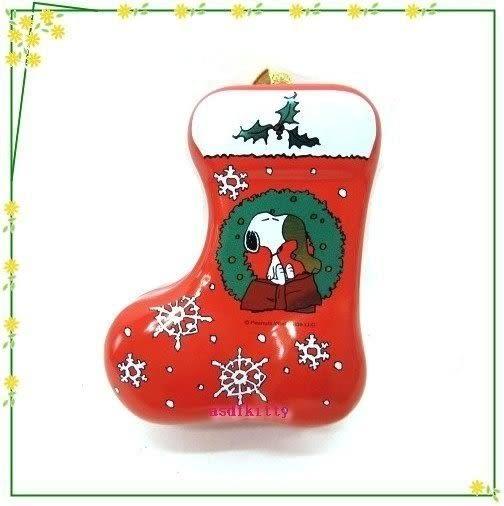 asdfkitty可愛家☆賠錢出清特價 史努比聖誕樹掛飾/收納鐵盒/禮物盒或幸運籤-日本製