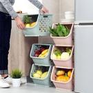 可疊加收納筐塑膠玩具收納籃廚房零食蔬菜筐子浴室置物架 新年特惠