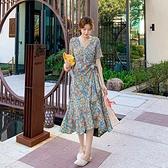 短袖洋裝S-L9275#油畫般的質感法式印花連身裙女V領系帶魚尾下擺碎花裙子T325韓衣裳