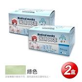 【南紡購物中心】【GRANDE格安德】醫用成人平面口罩(50片/盒),共2盒,蘋果綠色