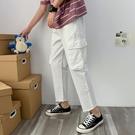 J工裝褲男潮牌鬆緊腰夏季薄款褲男寬鬆直筒多口袋褲冰絲九分褲U21