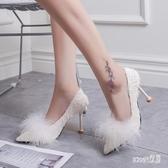 小清新細跟單鞋高跟鞋新款百搭韓版少女尖頭淺口貓跟 LR10573【Sweet家居】