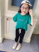 女童夏季新款字母印花短袖T恤韓版復古寬鬆圓領上衣 【販衣小築】