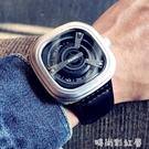 新概念黑科技時尚潮流手錶男學生個性方形大錶盤真皮帶休閒石英錶「時尚彩紅屋」
