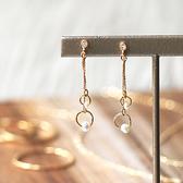[現貨] itam 日本製 垂墜雙環珍珠耳環/耳夾 (NP303)