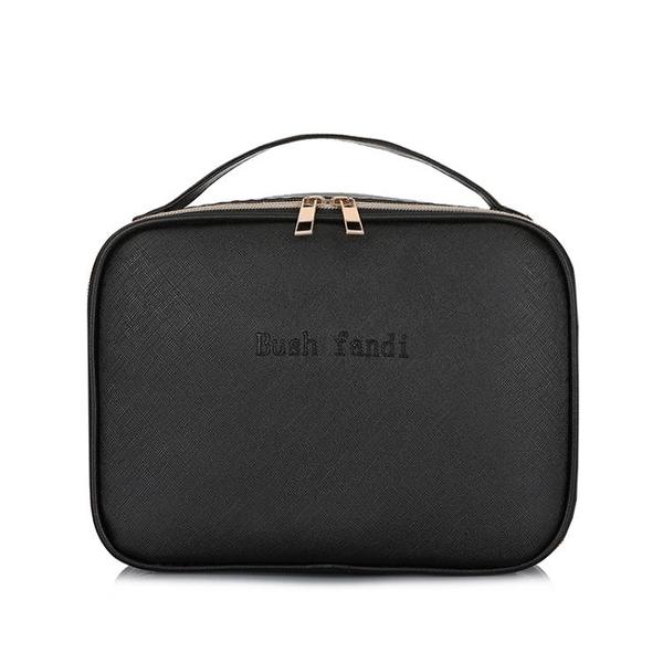 2019新款化妝包女大容量旅行手提簡約便攜黑色PU化妝品收納包