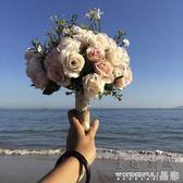 手捧花 婚紗影樓攝影拍照道具新娘手捧花結婚新款粉紅白仿真韓式婚禮花束 晶彩生活