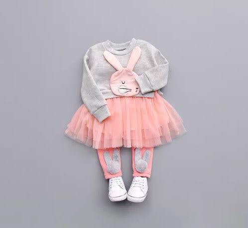 秋冬不倒絨 女童可愛兔子拼接網紗加絨洋裝.連身裙.長版上衣~EMMA商城