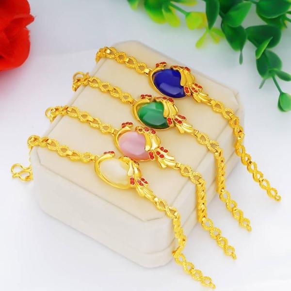 沙金女士項鏈手鏈孔雀兩件套鑲嵌寶石貓眼石墜子仿真黃金首飾飾品