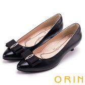 ORIN 浪漫素雅 全真皮造型鑽飾尖頭中跟鞋-黑色