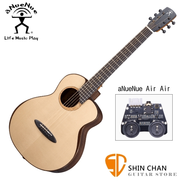 aNueNue M200E 雲杉木面板+玫瑰木側背板 36吋 全單板 可插電 民謠旅行吉他 鳥吉他 附多樣配件