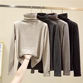 雙面磨毛羊絨加厚高領打底衫女秋冬內搭堆堆領加絨修身百搭保暖衣 韓美e站