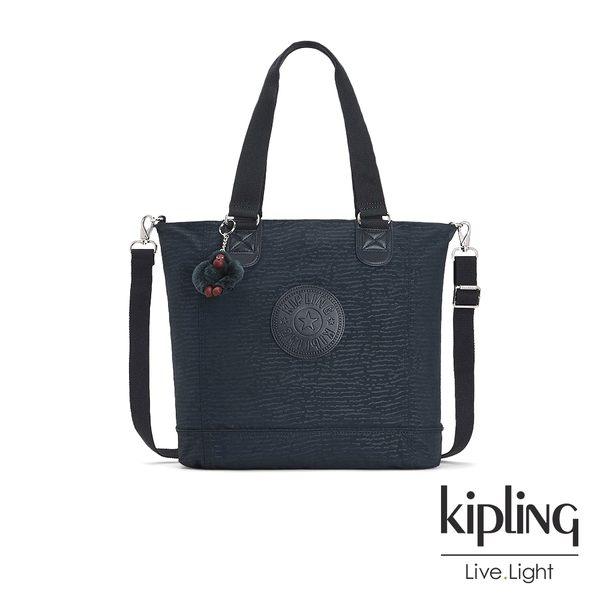 Kipling 文青靛藍紋路手提側背包-SHOPPER