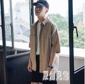 男士印花短袖襯衫 夏季復古工裝風潮流半袖寬鬆中袖襯衣 BT1078【原創風館】