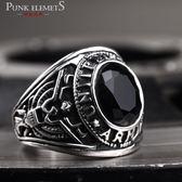 朋克潮男個性食指復古鈦鋼寶石男士戒指單身精品指環