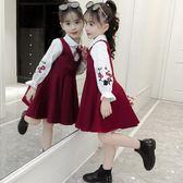 套裝 童裝女童秋裝連衣裙好康推薦新品正韓繡花襯衫裙套組小女孩洋氣潮衣服
