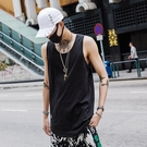 夏季歐美男生ins砍袖打底下擺背心男oversize嘻哈潮牌寬鬆無袖T恤 快速出貨