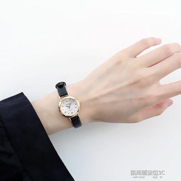 韓版簡約原宿風學生錶女錶復古棕色黑色皮帶手錶文藝小錶盤石英錶  凱斯盾數位3C