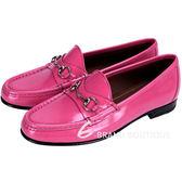 GUCCI 1953 Horsebit 經典馬銜亮皮樂福鞋(桃紅色) 1510154-41