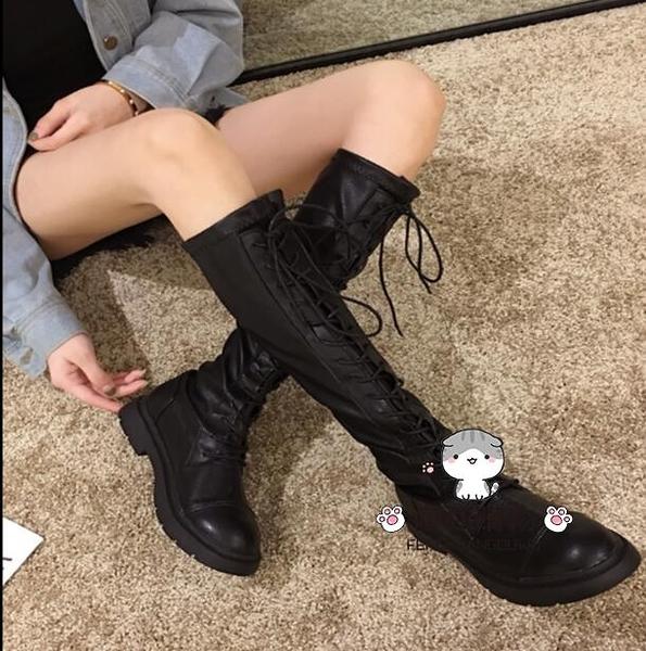膝上靴 長靴女過膝靴2019新款秋季靴子刷毛百搭粗跟長筒秋款高筒騎士潮冬
