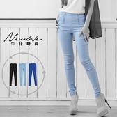 顯瘦窄管褲-共2色NEWLOVER牛仔時尚【268-9580】韓版雙拉鍊超彈性窄管長褲-S-L