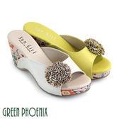 U27-20100 女款楔型拖鞋 自然立體雙彩花朵不對稱花布全真皮楔型拖鞋【GREEN PHOENIX】