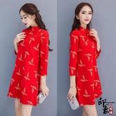 大尺碼洋裝原創瘦身旗袍重工金線刺繡中式改良顯瘦旗袍連身裙
