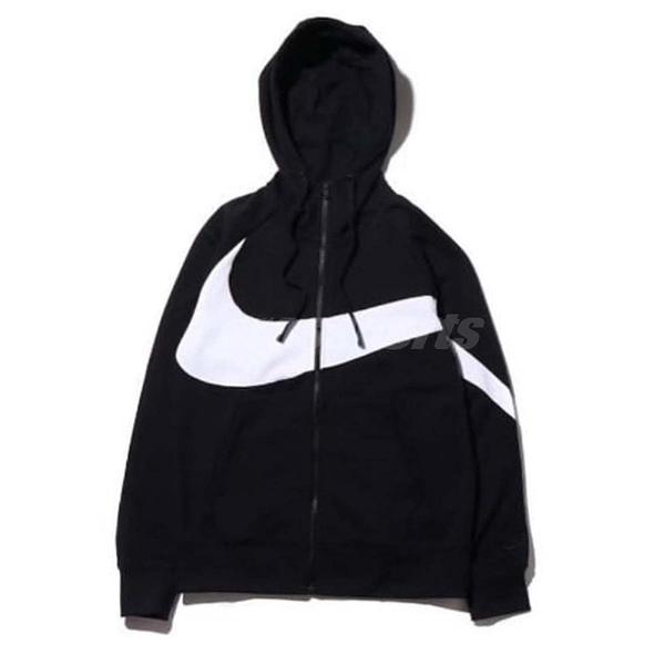 Nike 連帽外套 Big Swoosh Hoodie Jacket 黑 白 男款 復古 大勾勾 夾克【PUMP306】 AR3085-010