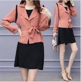 愛尚布衣XL-5XL中大尺碼襯衫洋裝兩穿28629/2018秋裝新款韓版大碼女裝氣質純色拼接兩件套連衣裙