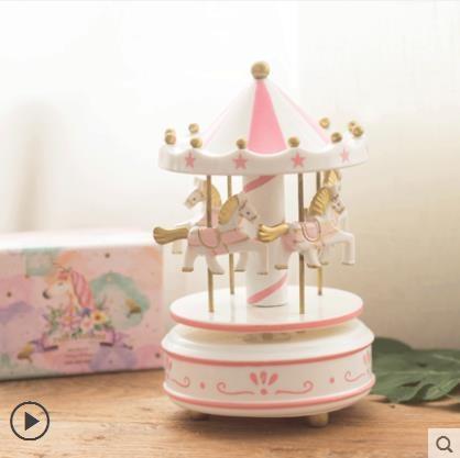木質旋轉木馬音樂盒18歲20成年女孩生日禮物女生公主手工小八音盒 滿天星