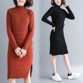 冬裝新款韓版時尚針織毛衣洋裝連身裙修身冬季打底中長裙 週年慶降價