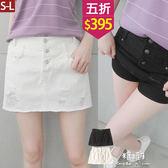 【五折價$395】糖罐子刷破造型三釦素面褲裙→預購(S-L)【KK6516】