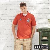 【JEEP】美式造型徽章短袖POLO衫-紅木