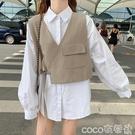 熱賣小馬甲 春秋裝2021新款女韓版休閒無袖西裝馬甲短外套燈籠袖襯衫兩件套潮 coco