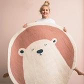 圓形地毯卡通圓形地毯可愛臥室地毯床邊加厚防摔地墊兒童房地毯家用可機洗~幸福小屋~