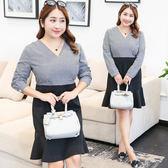 ★韓美姬★中大尺碼~V領格子拼接假兩件式長袖洋裝(XL~4XL)