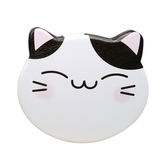 【貓粉選物】貓咪皮革隨身鏡-粉紅、藍色、三花、黑色 四色可選 雙面鏡 化妝鏡 補妝鏡 小圓鏡