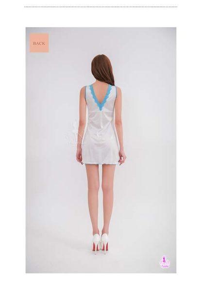 情趣用品 女性商品 純白柔緞藍色蕾絲邊深V美背性感睡衣 情趣睡衣 無袖洋裝