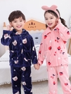 秋冬季兒童法蘭絨睡衣男童女童珊瑚絨加厚套裝男孩小孩寶寶家居服 牛年新年全館免運