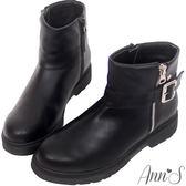 Ann'S微搖滾C字銀釦帶側拉鍊短靴-黑