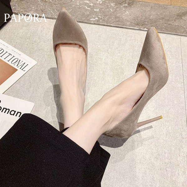 PAPORA絨面百搭尖頭素面細跟高跟鞋KK4153