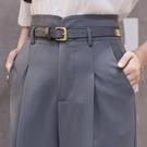 哈倫褲 藍色西裝褲女夏季花苞高腰小直筒九分西褲寬鬆蘿卜煙管褲哈倫褲薄 檸檬衣舍