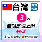 台灣 3天無限高速4G上網 不降速 插卡即可使用