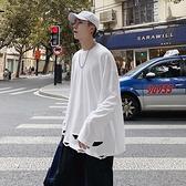 秋季長袖T恤男士ins港風破洞嘻哈上衣cec超火寬鬆搭配打底衫 雙十二全館免運
