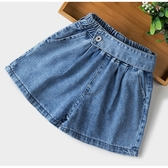 女童側扣腰帶裝飾造型 牛仔褲 褲裙 短褲 褲子 大童 女童 橘魔法 現貨