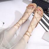 涼鞋 正韓交叉綁帶平底系帶羅馬沙灘鞋