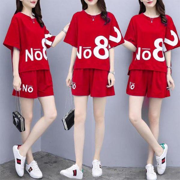 (工廠直銷不退換)586#休閑套裝女短褲運動服夏季新款 時尚胖MM大碼短袖兩件套ZM-2FB150-A韓依戀